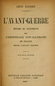 Cover of: L' avant-guerre