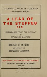 Cover of: A Lear of the steppes, etc.