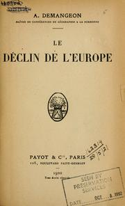 Cover of: Le déclin de l'Europe