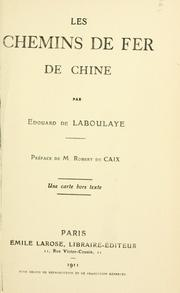 Cover of: Les chemins de fer de Chine