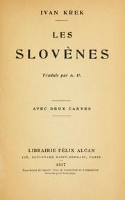 Cover of: Les Slovènes