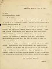 Cover of: [Letter to Lieut. Gen. Scott recommending the appointment of Colonel Meigs as quarter-master general