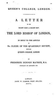 Cover of: A letter to the Right Hon. & Right Rev. the Lord Bishop of London