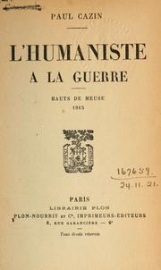 Cover of: L' humaniste à la guerre