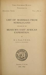 Cover of: List of mammals from Somali-land obtained by the museum's East African expedition