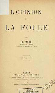 Cover of: L' opinion et la foule