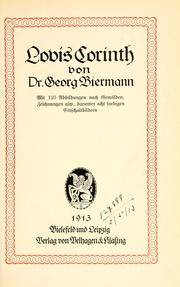 Cover of: Lovis Corinth. | Biermann, Georg
