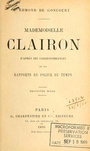 Cover of: Mademoiselle Clairon