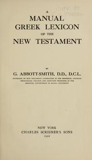 Cover of: A manual Greek lexicon of the New Testament