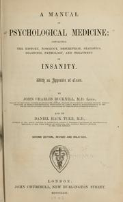 Cover of: A manual of psychological medicine