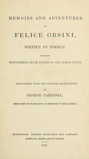 Cover of: Memoirs And Adventures Of Felice Orsini