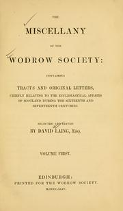 Cover of: The miscellany of the Wodrow Society