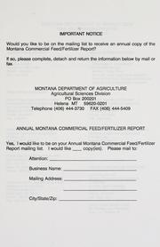 Cover of: Montana commercial feed/fertilizer report. | Montana. Agricultural Sciences Division.