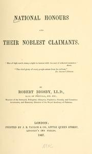Cover of: National honours and their noblest claimants