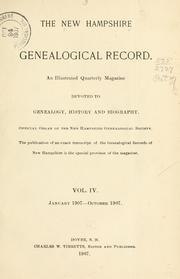 Cover of: The New Hampshire genealogical record |