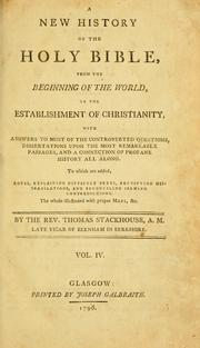 Cover of: A new history of the Holy Bible