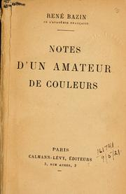 Cover of: Notes d'un amateur de couleurs