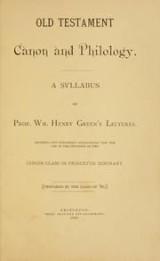 Cover of: Old Testament canon and philology