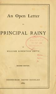 Cover of: An open letter to Principal Rainy