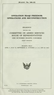 Cover of: Operation Iraqi Freedom | United States. Congress. Senate. Committee on Armed Services.