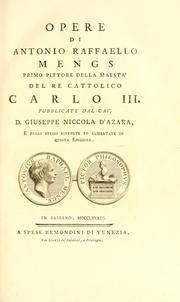 Cover of: Opere di Antonio Raffaello Mengs ..