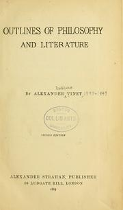 Cover of: Outlines of philosophy and literature