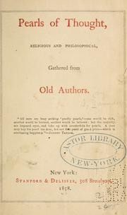 Cover of: Pearls of thought, religious and philosophical | Saunders, Frederick