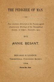 Cover of: pedigree of man | Annie Wood Besant