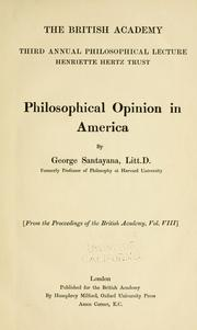 Cover of: Philosophical opinion in America