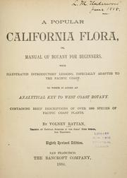 Cover of: popular California flora, or, Manual of botany for beginners | Volney Rattan
