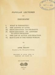 Cover of: Popular lectures on theosophy: chitannyi︠a︡ v Adiare v 1910 g