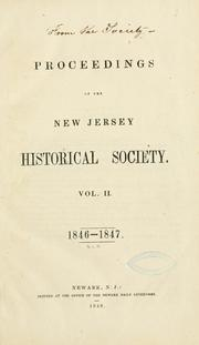 Cover of: Proceedings of the New Jersey Historical Society. | New Jersey Historical Society.