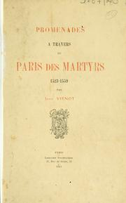 Cover of: Promenade à travers le Paris des martyrs, 1523-1559