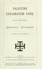 Cover of: Quarterly statement - Palestine Exploration Fund. by Palestine Exploration Fund.
