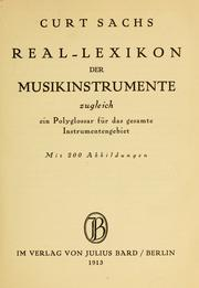 Cover of: Real-Lexikon der Musikinstrumente by Curt Sachs