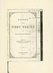Cover of: A record of the First Parish in Watertown, Massachusetts
