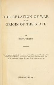 Cover of: The relation of war to the origin of the state