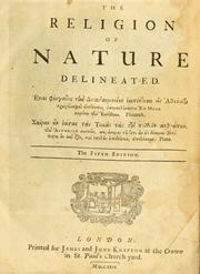Cover of: The religion of nature delineated