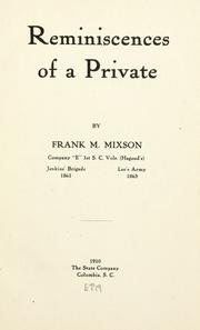 Cover of: Reminiscences of a private | Frank M. Mixson