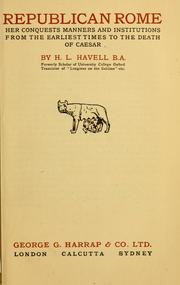 Republican Rome by H. L. Havell