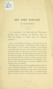 Cover of: Rev. John Barnard, of Marblehead