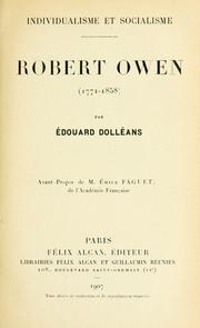 Cover of: Robert Owen, 1771-1858 | Édouard Dolléans