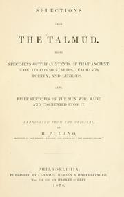Cover of: Selections from the Talmud |