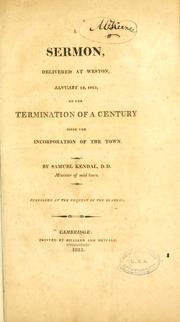 Cover of: A sermon, delivered at Weston, January 12, 1813