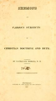 Cover of: Sermons on various subjects of Christian doctrine and duty