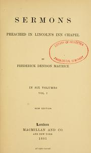 Cover of: Sermons preached in Lincoln's Inn Chapel