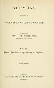 Cover of: Sermons preached in Sackville college chapel