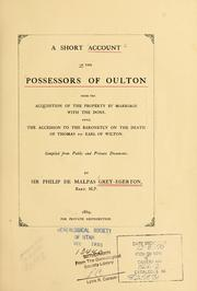 Cover of: Short account of the possessors of Oulton | Grey-Egerton, Philip de Malpas Sir, 10th Bart.