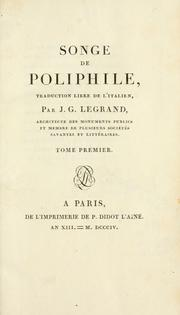 Cover of: Songe de Poliphile, traduction libre de l'italien