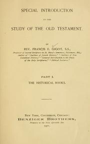 Special introduction to the study of the Old Testament.
